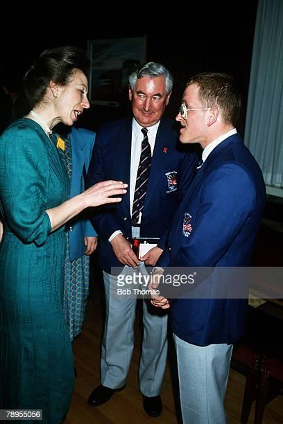 Sport, 1988 Winter Olympic Games, Calgary, Canada, HRH, Princess Anne meets Great Britain's ski jumper Eddie 'The Eagle' Edwards.
