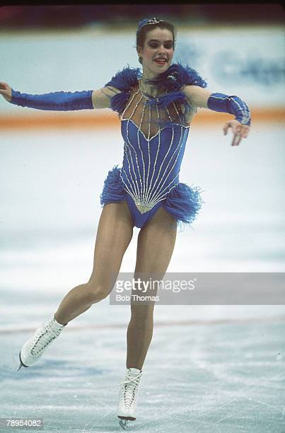 Sport 1988 Winter Olympic Games Calgary Canada Ladies Figure Skating Katarina Witt East Germany the Gold medal winner