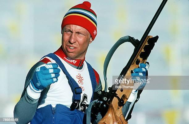 Sport 1988 Winter Olympic Games Calgary Canada Mens 20 km Biathlon Valeri Medvedtsev USSR the Silver medal winner