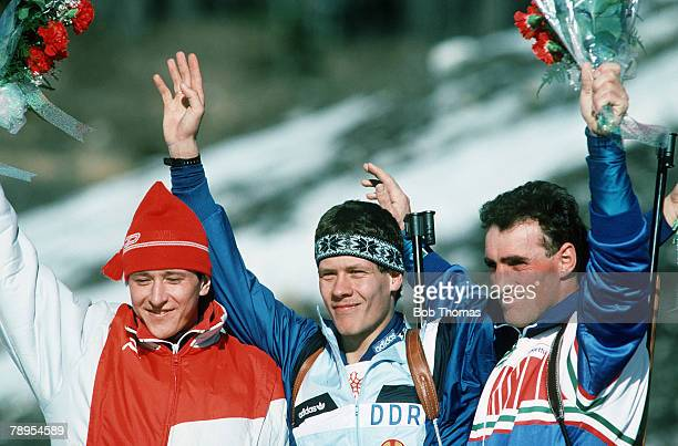 Sport, 1988 Winter Olympic Games, Calgary, Canada, Mens 20 Km Biathlon, Left-right, Valeri Medvedtsov, USSR , Frank-Peter Roetsch, East Germany ,...