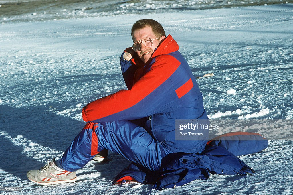 Sport, 1988 Winter Olympic Games, Calgary, Canada, Mens 70 and 90 metre Ski Jump, Great Britain's Eddie 'The Eagle' Edwards interviewed on the lift by BBC's Mike Ingham, Eddie Edwards a popular comic figure, was hopelessly outclassed and came last in his events