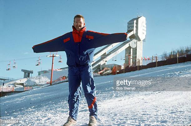 Sport 1988 Winter Olympic Games Calgary Canada Mens 70 and 90 metre Ski Jump Great Britain's Eddie 'The Eagle' Edwards interviewed on the lift by...