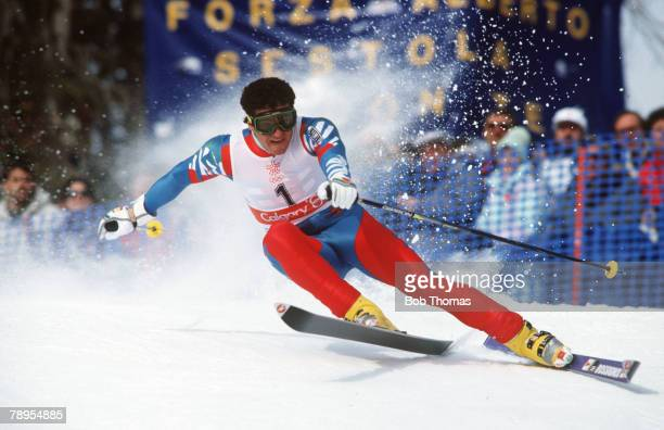 Sport 1988 Winter Olympic Games Calgary Canada Skiing Mens Giant Slalom Alberto Tomba Italy the Gold medal winner