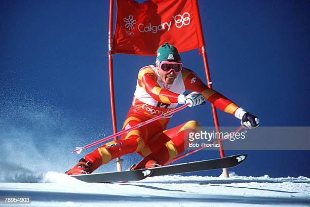 Sport 1988 Winter Olympic Games Calgary Canada Skiing Mens Giant Slalom Pirmin Zurbriggen Switzerland
