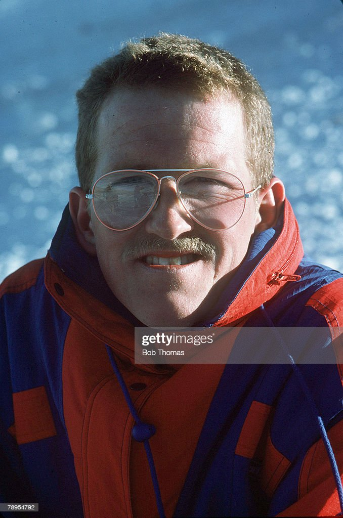 Sport, 1988 Winter Olympic Games, Calgary, Canada,Mens 70 and 90 metre Ski Jump, Great Britain's Eddie 'The Eagle' Edwards, Eddie Edwards a popular comic figure, was hopelessly outclassed and came last in his events