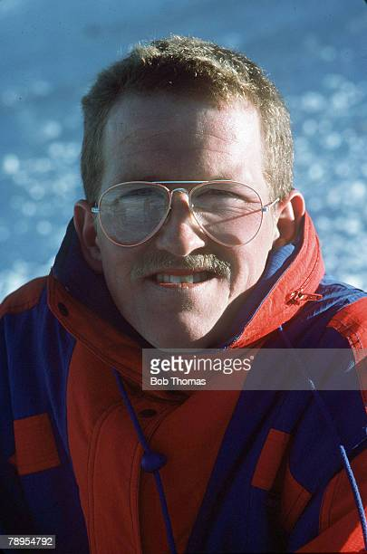 Sport 1988 Winter Olympic Games Calgary CanadaMens 70 and 90 metre Ski Jump Great Britain's Eddie 'The Eagle' Edwards Eddie Edwards a popular comic...