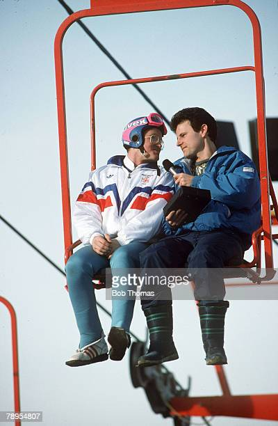 Sport 1988 Winter Olympic Games Calgary CanadaMens 70 and 90 metre Ski Jump Great Britain's Eddie The Eagle Edwards interviewed on the lift by BBC's...