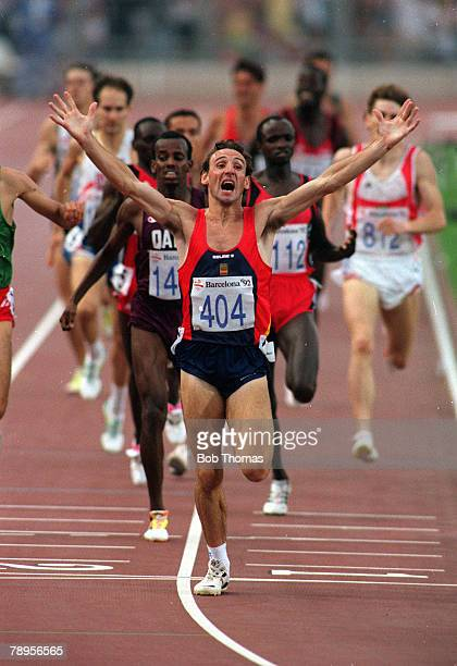 Sport 1992 Olympic Games Barcelona Spain Athletics Mens 1500 Metres Final Spain's Fermin Cacho Ruiz stretches out his arms to celebrate as he crosses...