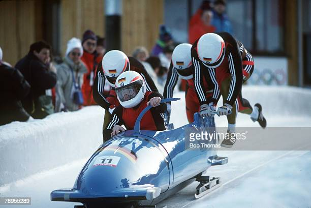 Sport 1992 Winter Olympic Games Albertville France 4 Man Bobsleigh Germany 2 Czudaj Bonk Jang Szelig
