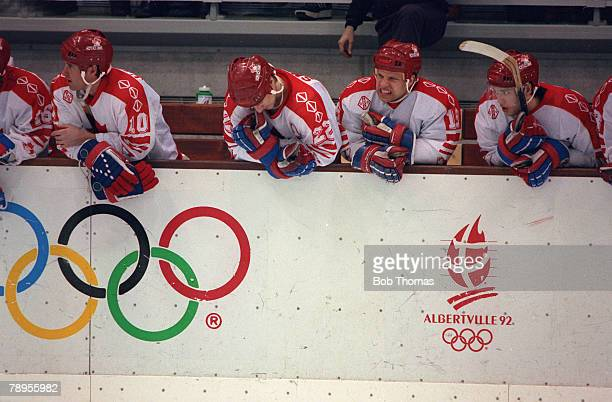 Sport 1992 Winter Olympic Games Albertville France Ice Hockey Final Unified Team 3 v Canada 1 Canadian players dejected at the final whistle