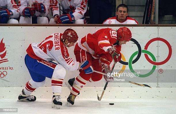 Sport 1992 Winter Olympic Games Albertville France Ice Hockey Final Unified Team 3 v Canada 1 Action from the game