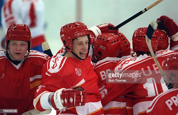 Sport 1992 Winter Olympic Games Albertville France Ice Hockey Final Unified Team 3 v Canada 1 The Unified Team's Igor Boldin and teammates celebrate...