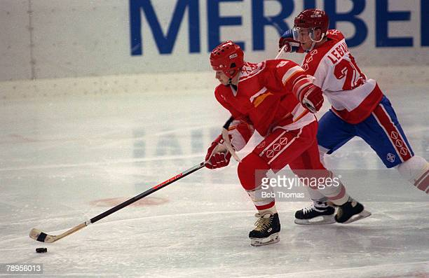 Sport 1992 Winter Olympic Games Albertville France Ice Hockey Final Unified Team 3 v Canada 1 The Unified Team's Igor Boldin races away as Canada's...