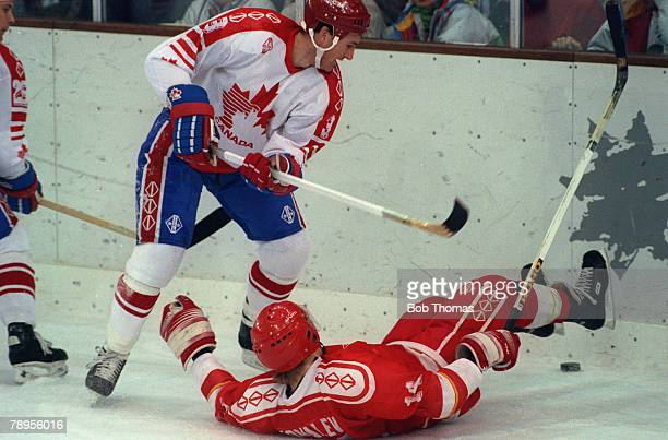 Sport 1992 Winter Olympic Games Albertville France Ice Hockey Final Unified Team 3 v Canada 1 The Unified Team's Alexei Kovalev goes sprawling as...