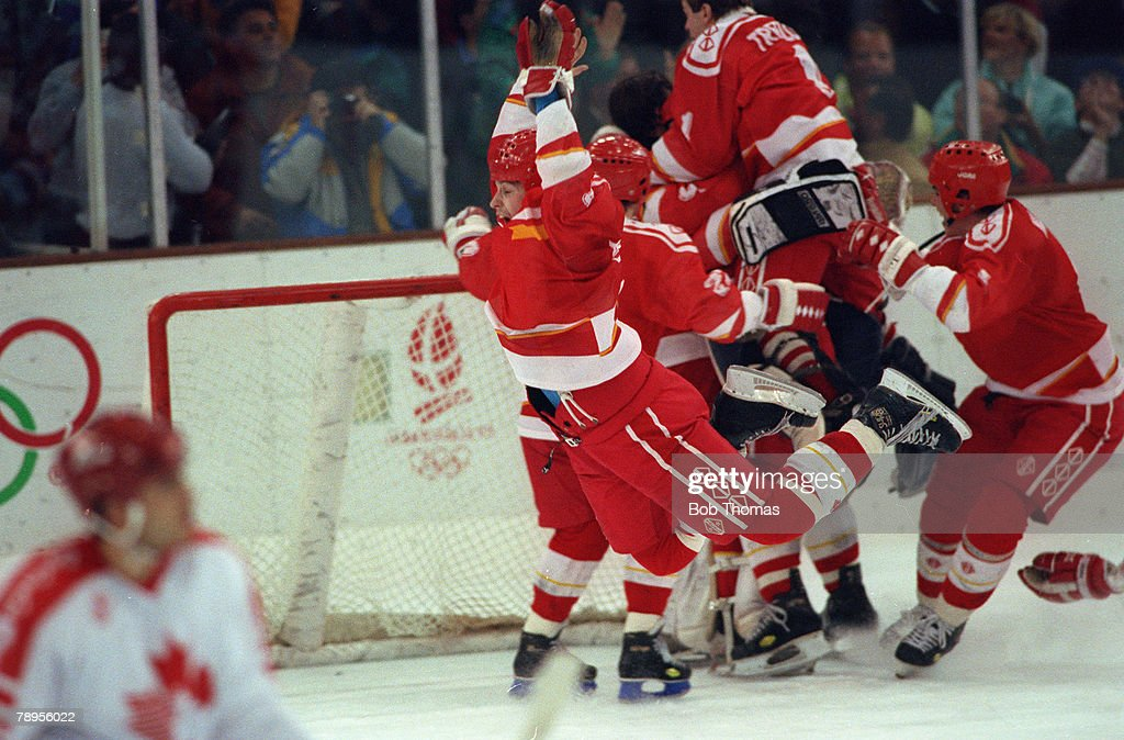 Sport, 1992 Winter Olympic Games, Albertville, France, Ice Hockey, Final, Unified Team 3 v Canada 1, The Unified Team players celebrate beating Canada to win the Gold medal