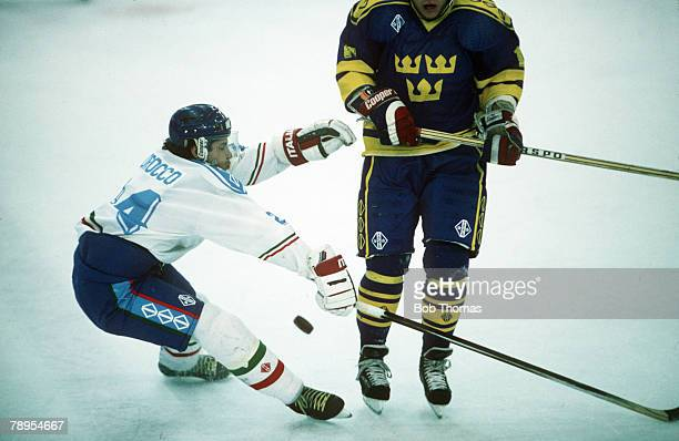 Sport 1992 Winter Olympic Games Albertville France Ice Hockey Sweden v Italy Italy's Rick Morocco in action