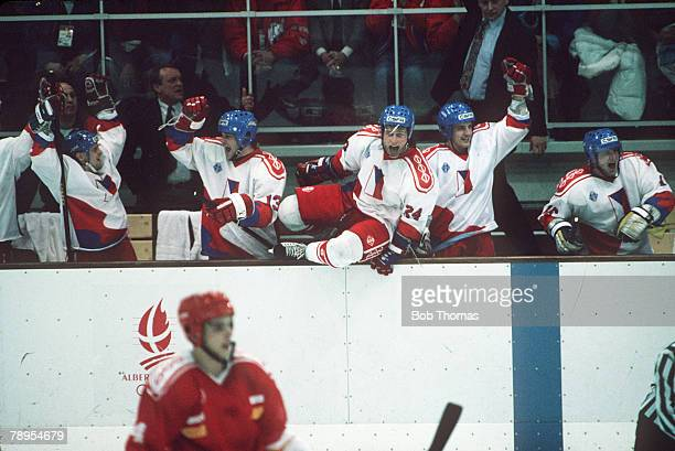 Sport 1992 Winter Olympic Games Albertville France Ice Hockey Unified Team 2 v Czechoslovakia 3 Czechoslovakia's players celebrates victory at the...