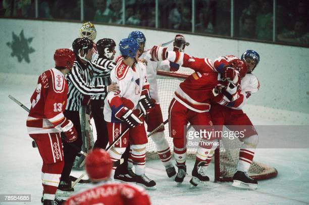 Sport 1992 Winter Olympic Games Albertville France Ice Hockey Unified Team 2 v Czechoslovakia 3 A fight breaks out around the net between rival...