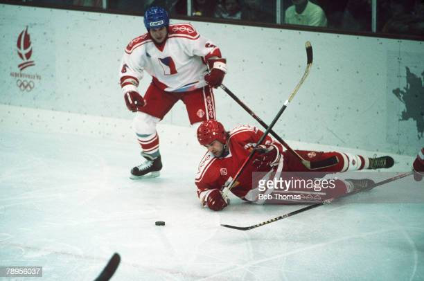 Sport 1992 Winter Olympic Games Albertville France Ice Hockey Unified Team 2 v Czechoslovakia 3 The Unified Team player sprawls on the ice