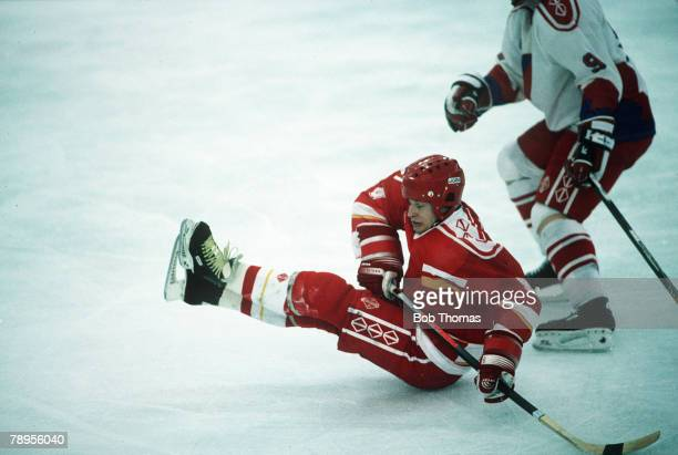 Sport 1992 Winter Olympic Games Albertville France Ice Hockey Unified Team 2 v Czechoslovakia 3 The Unified Team's Igor Boldin has a hard landing on...