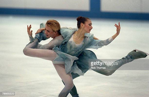 Sport 1992 Winter Olympic Games Albertville France Ice Skating Ice Dance Maia Usova and Alexander Zhulin Unified Team the Bronze medal winners