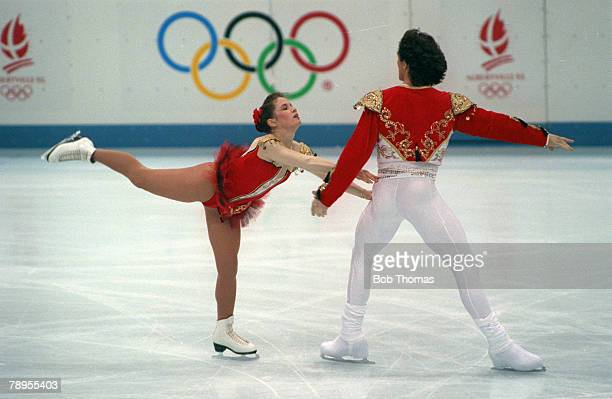 Sport 1992 Winter Olympic Games Albertville France Ice Skating Pairs Natalia Dmitriev and Artour Dmitriev Unified Team the Gold medal winners
