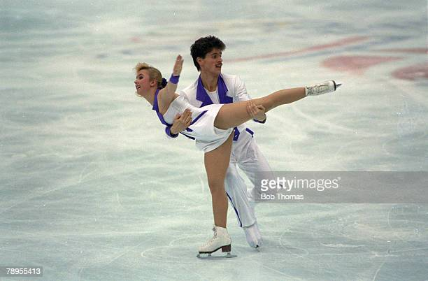 Sport 1992 Winter Olympic Games Albertville France Ice Skating Pairs Mandy Wotzel and Axel Rauschenbach Germany