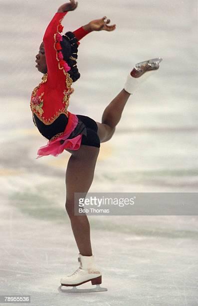 Sport, 1992 Winter Olympic Games, Albertville, France, Ice Skating, Womens Figure Skating, Surya Bonaly, France