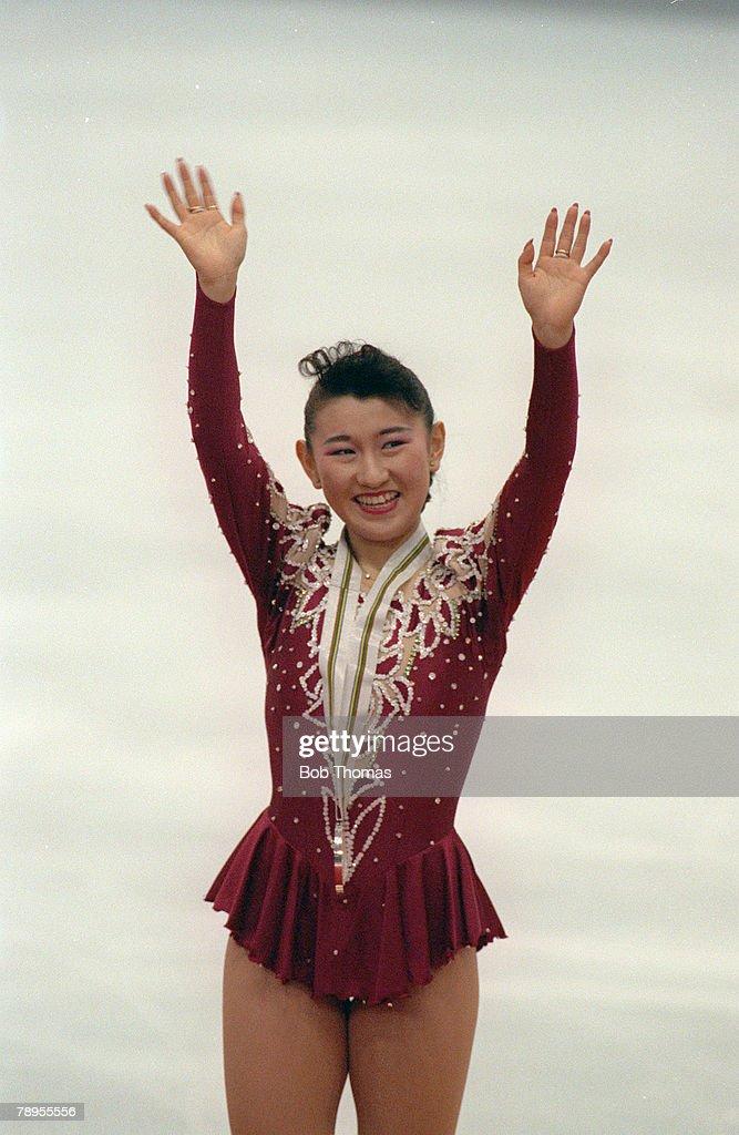 Sport. 1992 Winter Olympic Games. Albertville, France. Ice Skating. Womens Figure (Free) Skating. Midori Ito, Japan, the Silver medal winner. : News Photo