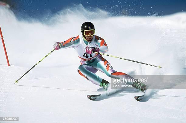 Sport, 1992 Winter Olympic Games, Albertville, France, Skiing, Mens Giant Slalom, Jorge Pujol Planella, Spain