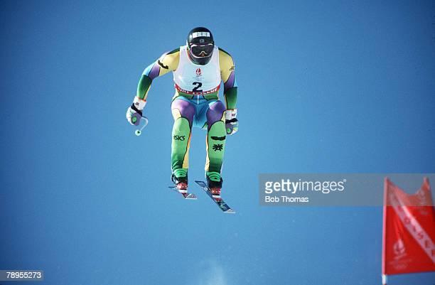 Sport 1992 Winter Olympic Games Albertville France Skiing Mens Downhill Patrick Ortlieb Austria the Gold medal winner