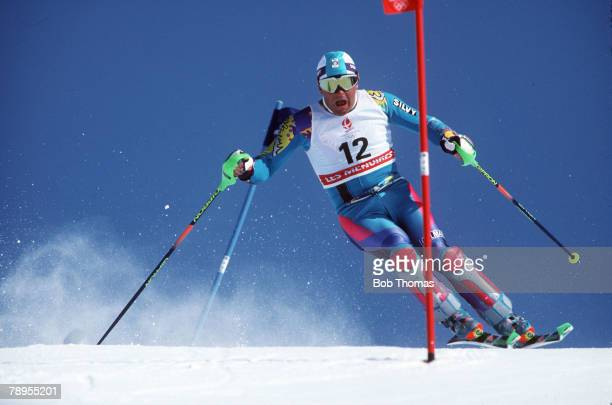 Sport 1992 Winter Olympic Games Albertville France Skiing Mens Slalom Alberto Tomba Italy the Silver medal winner