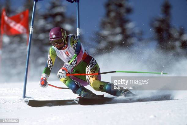 Sport 1992 Winter Olympic Games Albertville France Skiing Womens Giant Slalom Ulrike Maier Austria placed 4th