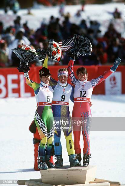 Sport 1992 Winter Olympic Games Albertville France Skiing Womens Giant Slalom The medal ceremony leftright Anita Wachter Austria Pernilla Wiberg...