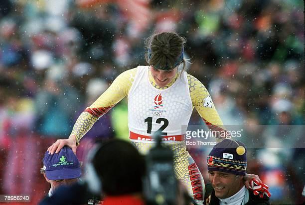 Sport, 1992 Winter Olympic Games, Albertville, France, Skiing: Womens Downhill, Canada's Kerrin Lee-Gartner, the Gold medal winner, celebrates her...