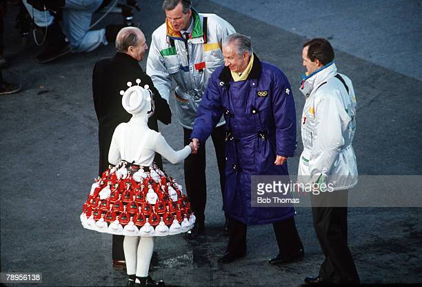 Sport 1992 Winter Olympic Games Albertville France Speed Skating Opening Ceremony IOC President Juan Antonio Samaranch greeted by a small girl with...
