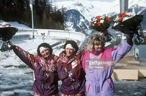 Sport 1992 Winter Olympic Games Albertville France Womens Single Luge Medal ceremony leftright Angelika Neuner Austria Doris Neuner Austria Susi...