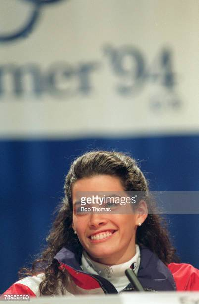 Sport 1994 Winter Olympic Games Lillehammer Norway Ice Skating Ladies Figure Skating Singles Nancy Kerrigan USA the Silver medal winner at a press...