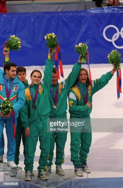 Sport 1994 Winter Olympic Games Lillehammer Norway Mens ShortTrack Speed Skating 5000 metres relay Medal ceremony Australia the Bronze medal winners...