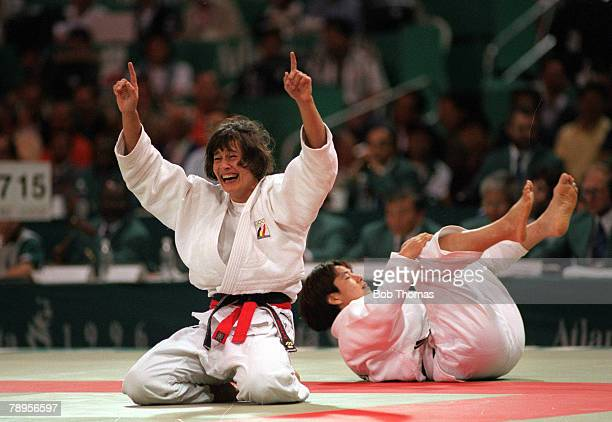 Sport 1996 Olympic Games Atlanta USA Women's Judo Final 72 Kg Belgium's U Werbrouck celebrates as she wins the gold medal by defeating Japan's Yoko...