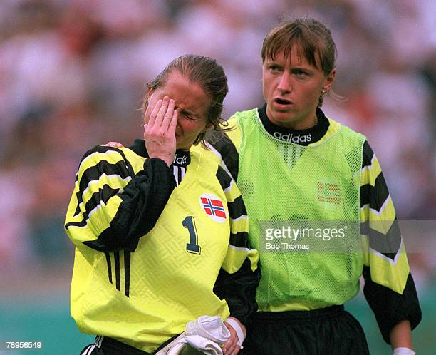 Sport 1996 Olympic Games Sanford Stadium Atlanta USA Women's Football Semi Final USA 2 v Norway 1 Norwegian goalkeeper Bente Nordby in tears after...