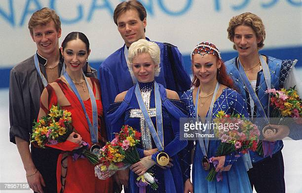 Sport 1998 Winter Olympic Games Nagano Japan Figure Skating Ice Dance Medal ceremony leftright Anjelika Krylova and Oleg Ovsyannikov Russia Pasha...