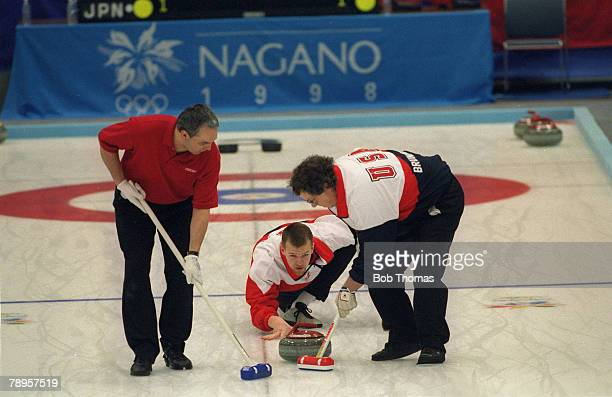 Sport 1998 Winter Olympic Games Nagano Japan Mens Curling The USA team in action with Mike Peplinski centre