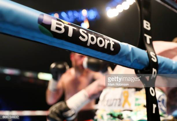 Sport advert on the ring ropes during the Jimmy Kelly and Rick Godding bout at Manchester Arena on April 8 2017 in Manchester England