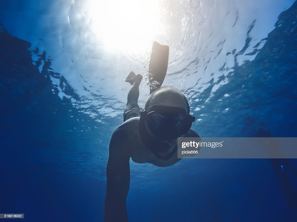POV Sport and Activities: underwater selfie : Stock Photo