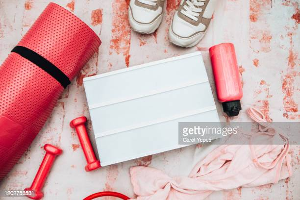 sport and fitness equipment with blank template - kilogram stock pictures, royalty-free photos & images