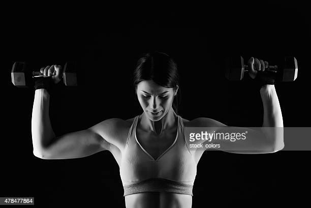 desporto e potência - silhueta de corpo feminino preto e branco imagens e fotografias de stock