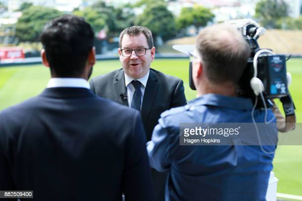 Sport and Recreation Minister Grant Robertson is interviewed during the ICC Under19 Cricket World Cup New Zealand 2018 official event launch at Basin...