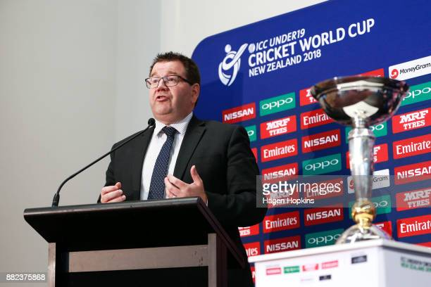 Sport and Recreation Minister Grant Robertson speaks during the ICC Under19 Cricket World Cup official event launch at Basin Reserve on November 30...