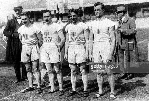 Sport Athletics 1920 Olympic Games Antwerp Belgium Mens 4 x100 metres relay USA the Gold medal winners the team was Charles Paddock Jackson Scholz...